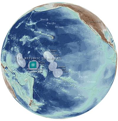 Peta Geografi letak Pulau Phoenix di Negara Kiribati. Photo :  phoenixislands.org