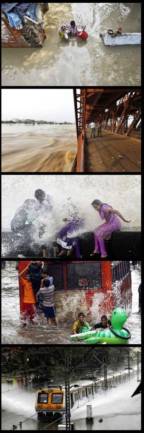 Sekalipun banjir menerjang kawasan permukiman, warga bersenang-senang bermain air banjir. Ini bukan adegan film India yang romantis dengan lagu-lagu mendayu gembira dan sedih.