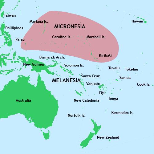 Peta Kepuluan Mikronesia.