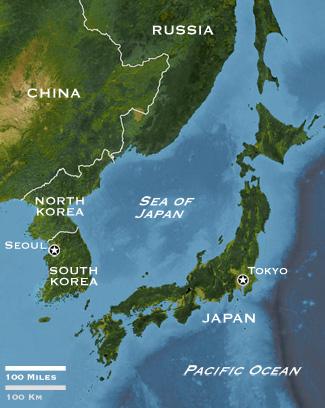 Kondisi geografis Laut Jepang.