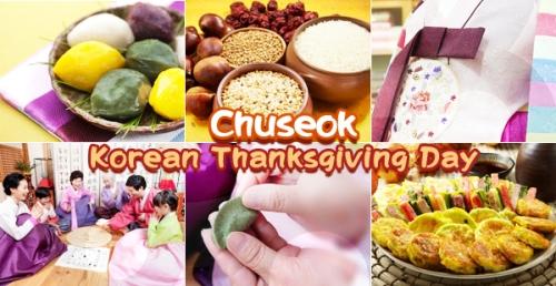 Berbagai jenis masakan tradisional Korsel terhidang di meja makan saat sambut perayaan Chuseok.