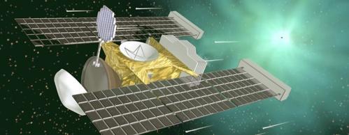 NASA Stardust pesawat ruang angkasa, yang dikumpulkan debu komet dan antar tahun 2004 dan kemudian menyampaikan tenis-raket berbentuk kolektor debu ke Bumi melalui parasut. Courtesy NASA.