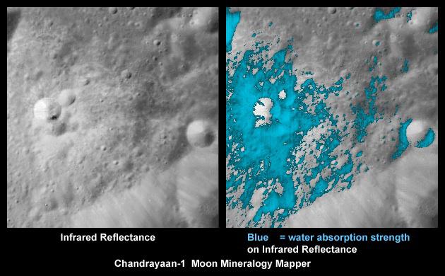 Kawah bulan sebagaimana dicitrakan oleh NASA Moon Mineralogy Mapper . Gambar Kredit : SRO / NASA / JPL - Caltech / USGS / Brown Univ .