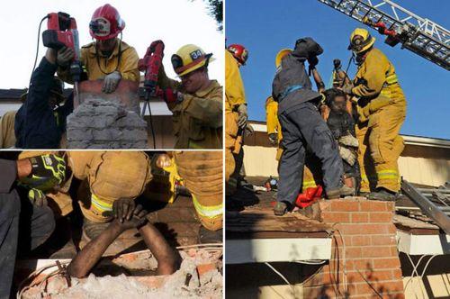 Aksi penyelamatan Nunez yang terjebak dalam cerobong asap. Petugas pemadam kebakaran terpaksa mengebor dinding cerobong yang terbuat dari beton.