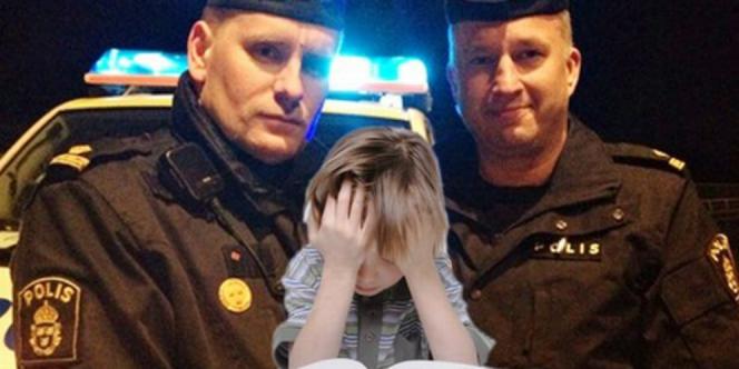 Melihat anak itu tinggal sendirian, dua polisi itu memutuskan untuk menemaninya hingga ibunya datang.