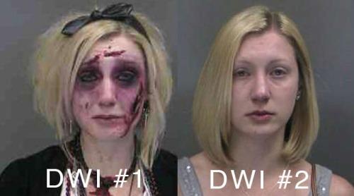 Catherine Butler dandan ala zombie saat dirinya mabuk saat mengendarai mobil.