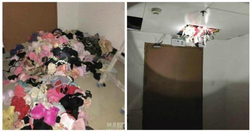 Pakaian dalam wanita berserakan di lantai dan sebagian masih berada di loteng apartemen tempat Tang tinggal.