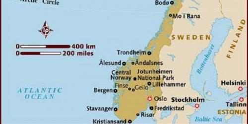 Peta Norwegia tempat kejadian perkara dimana seorang pria didenda Rp 16,7 juta karena menipu.