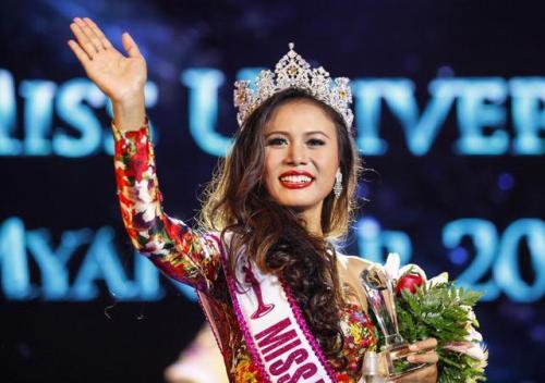 Miss Universe 2014 Sharr Htut Eaindra saat mengikuti ajang Miss Universe .