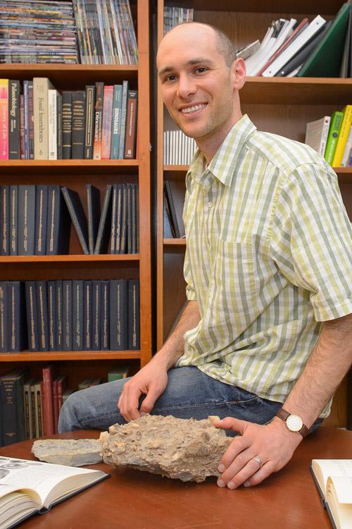 Paleobiologist Jonathan Payne menangani batu diresapi dengan makhluk laut fosil. Timnya baru-baru ini digunakan fosil yang mirip dengan memberikan bukti baru untuk Cope memerintah pada evolusi ukuran tubuh.