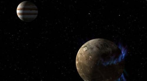 Palent Jupiter dan satelit yang mengikutinya, bulan Ganymede.