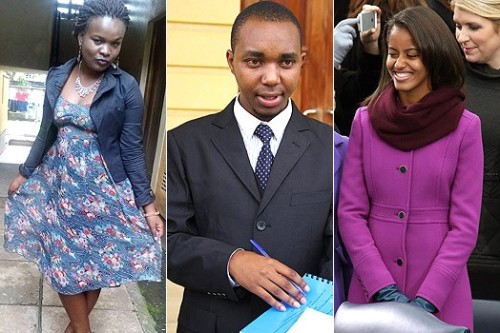 From left: Ann Kioko, lawyer Felix Kiprono and Malia Obama.