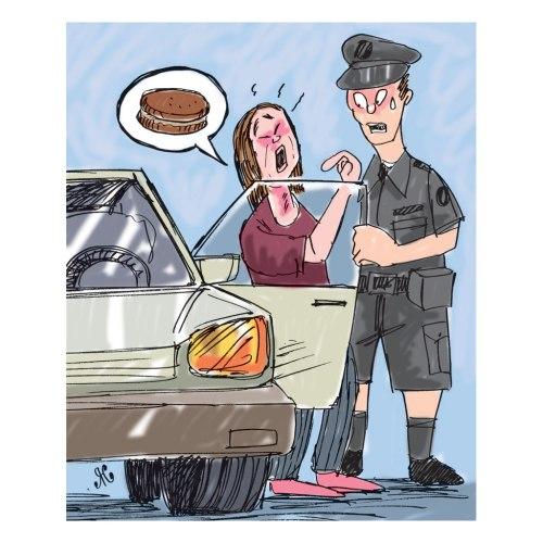 Ilustrasi, wanita pengemudi mobil itu kesulitan bernapas karena tersedak biskuti. Ilustrai : Handining.