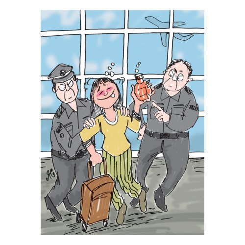 cewek mabuk seret koper di bandara