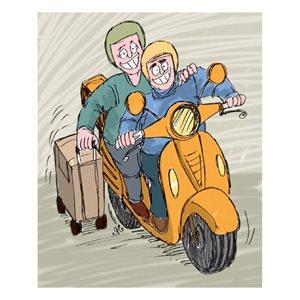 Images, duduk di boncengan skuter sambil menarik koper.