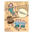 Ilustrasi Handining, dua bocah melompat pagar, ingin beli mobil Jaguar.