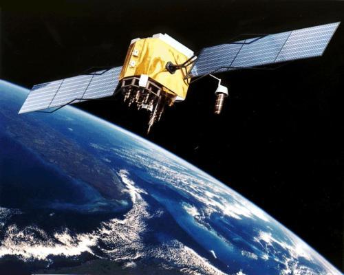 Konsepsi artis dari satelit GPS Blok II - F di orbit Bumi .