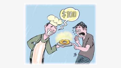 koki memegang piring donat 100 dollar