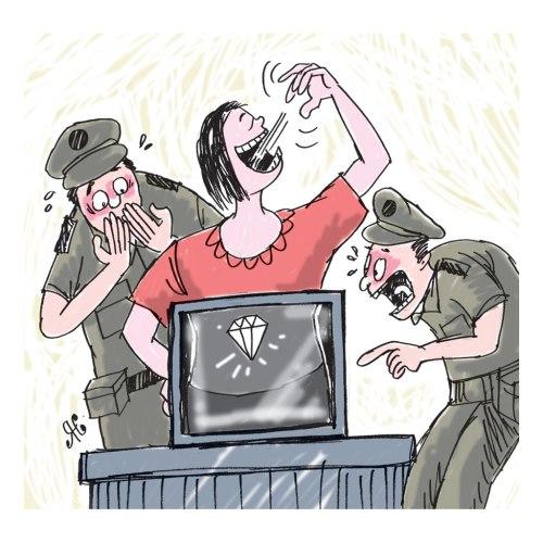 Wanita Tiongkok menelan berlian saat diperiksa petugas. Ilustrasi Handining.