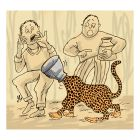 Ilustrasi Handining, kepala macan tutul terjepit belanga.