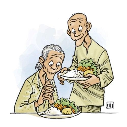 Kaum manula Provinsi Uttaradit Thailand menganut gaya hidup sehat vegetarian. Mereka suka makan sayur rebus, menghindari makan daging merah, dan masih aktif dalam kegiatan harian. Usia harapan hidup mereka rata-rata di atas 100 tahun. Ilustrasi Jitet.