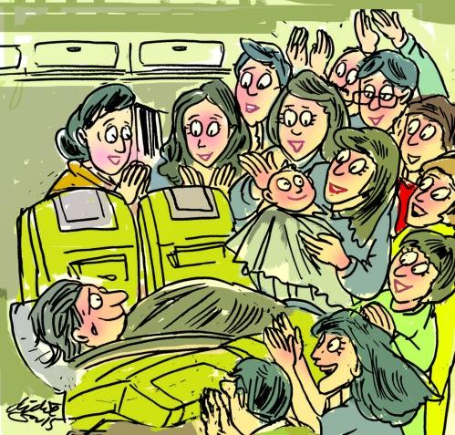 Wanita Taiwan melahirkan dalam pesawat terbang jurusan Los Angeles. Ilustrasi : Didie SW.
