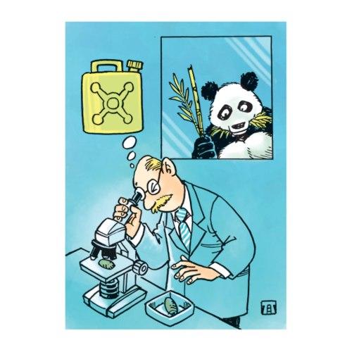 Meneliti kotoran panda di laboratoriom. Ilustrasi Handining.