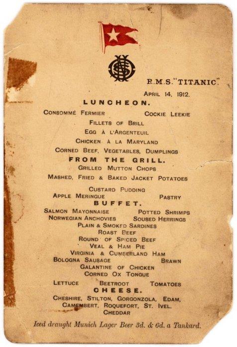 Menu mewah makan siang yang ada di dalam restoran kapal Titanic.