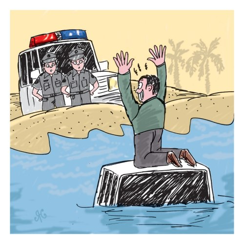 Ketika bodi mobil mulai terendam air laut, pengemudi pun memanjat atap mobil dan minta tolong. Polisi Yanchep dengan mudah menangkap pengemudi sial ini. Ilustrasi, Handining.