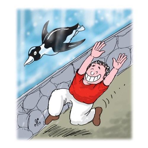 Ilustrasi Handining, pinguin Hala sedang bermain dengan anak laki-laki di akuarium.