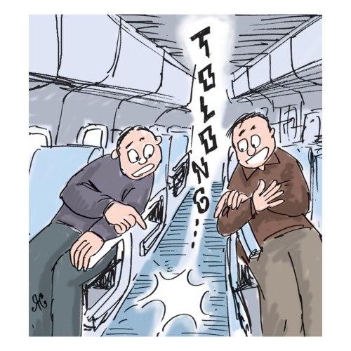 Teriakan penumpang wanita dalam kereta bawah tanah.