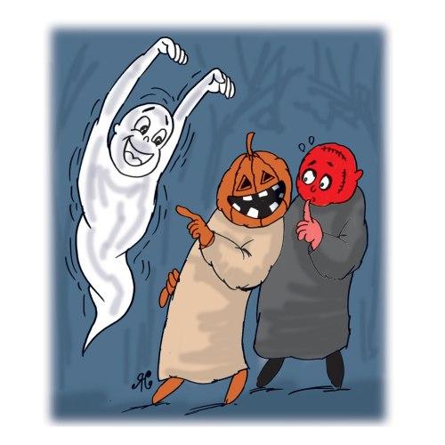 Dua pria merasa takut melihat hantu pocong, setelah memakai kostum hantu pocong dalam rangka merayakan Halloween.
