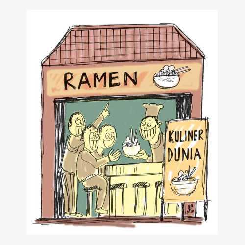 Ramen masakan khas Mie Jepang mendapat sebuah bintang dari Michelin Guide. Penggemar ramen cukup banyak, kendati harganya tidak murah. Semangkon ramen setara Rp 100.000 hingga Rp 140.000. Ilustrasi : Handining.