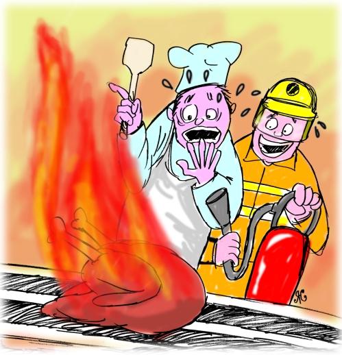 Demo memasak daging kalkun dengan jenis minyak dan suhu panas yang salah ukurannya. Ilustrasi Handining.