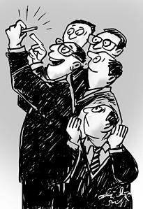 Ilustrasi Didie SW, menentukan kemenangan calon wakil rakyat dengan cara menarik sedotan lebih panjang.