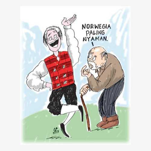 Ingin hidup nyaman bahaagia, tinggallah di Norwegia. Ilustrasi Handining.