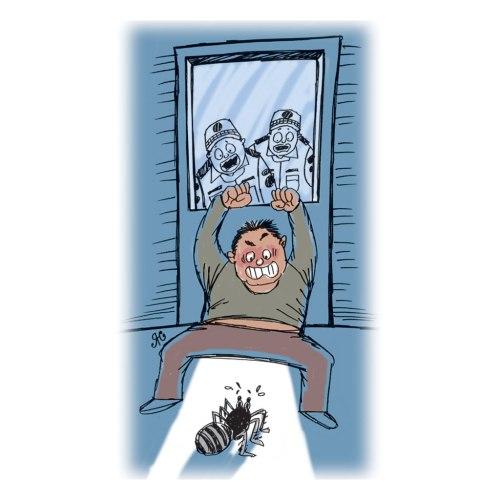 Pria ini begitu takut dengan laba-laba besar yang ada dalam kamar apartemennya. Begitu takutnya dengan laba-laba, ia berteriak keras-keras ingin membunuh laba-laba ini. Ilustrasi Handining.