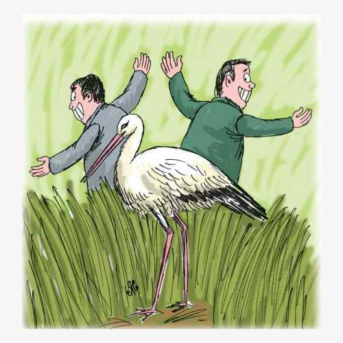 dua lelaki dan burung paruh panjang.