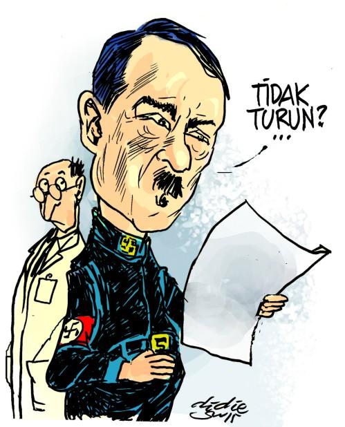 Ilustrasi mengatakan bahwa Hitler itu punya satu testis yang menandakan dia itu penakut.
