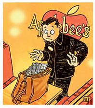 Geery membuka tas penuh duit yang ditinggal pemiliknya. Ilustrasi : Jitet.
