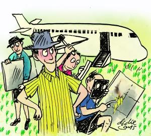 Ilustrasi Didie SW, petani Wang Lunqan memimpin perakitan replika pesawat Boeing 737.