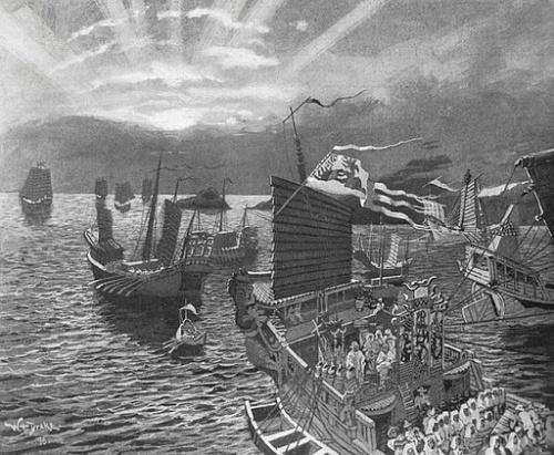Ilustrasi, armada kapal perang Kubilai Khan dari Mongol saat berlayar di Laut Jawa dalam perjalanan menyerbu pasukan Kertanegara.