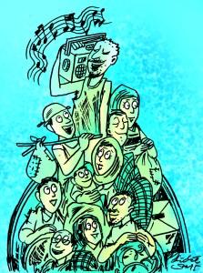 Ilustrasi Didie SW, paduan suara anak-anak menghibur pengungsi Suriah yang baru tiba di Kanada.