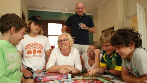 Lochie, 9, Jack, 16, Jacquie Young, Dieter Winkler, Sophie, 18, Ben, 13, and Noah, 10, at home in Randwick after the vacation from hell.