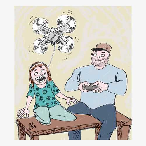 nak kecil senang main drone ayahnya
