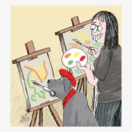 Dagger anjing Labrador ikut melukis didampingi Yvonne majikannya yang sangat menyayanginya. Ilustrasi Handining.