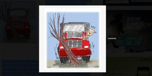 """Anjing """"Pegang Kemudi"""", Truk Meluncur hingga Tabrak Pohon."""