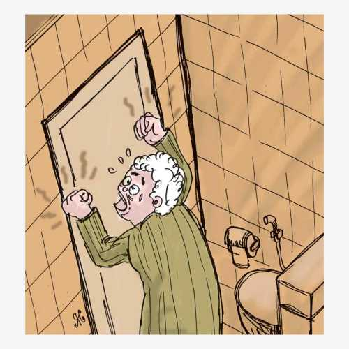 Ilustrasi Handining, wanita lanjut usia terjebak dalam toilet perpustakaan di Waco, Texas.