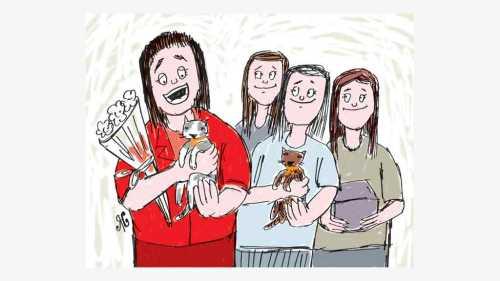 empat wanita pegang kucing