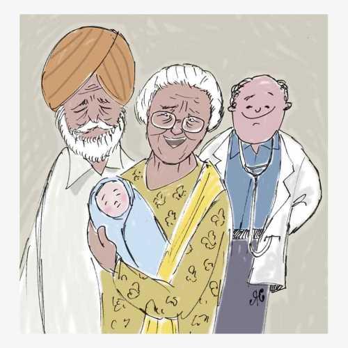nenek gendong bayi ada orang arab dan dokter